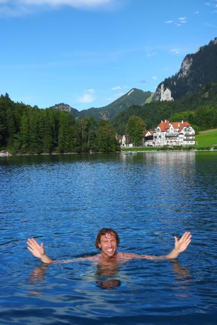 Mario dived off the paddle boat for a swim in Schwangau Lake