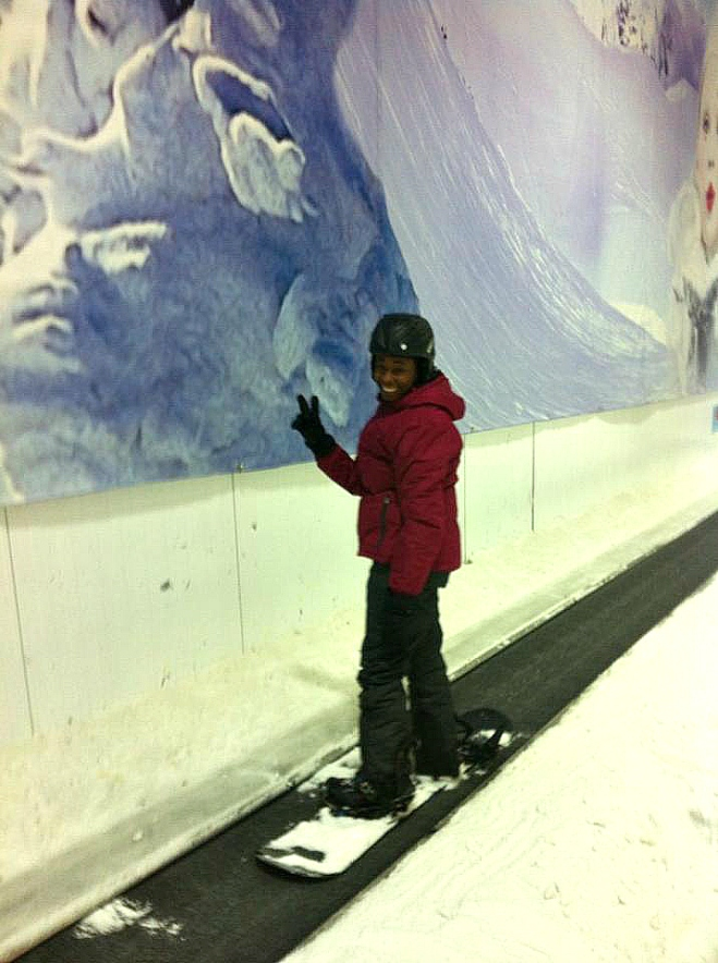 snowboarding grin
