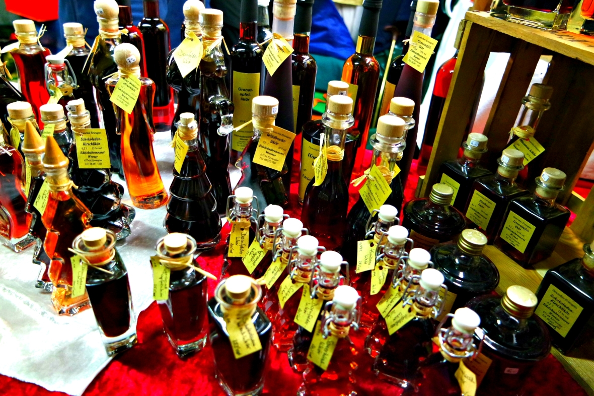 Tasty liquor at romantic Christmas Market in Germany